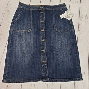 New! Liz Claiborne Button Front Blue Denim Skirt